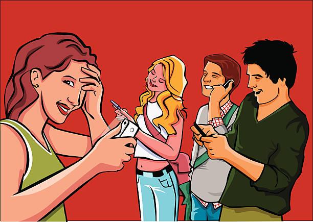 Chicos y chicas hablando. Personas de enviar los mensajes por móvil - ilustración de arte vectorial