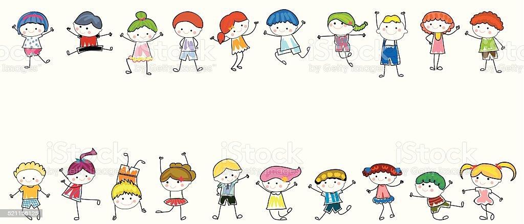 Garçons et filles - Illustration vectorielle