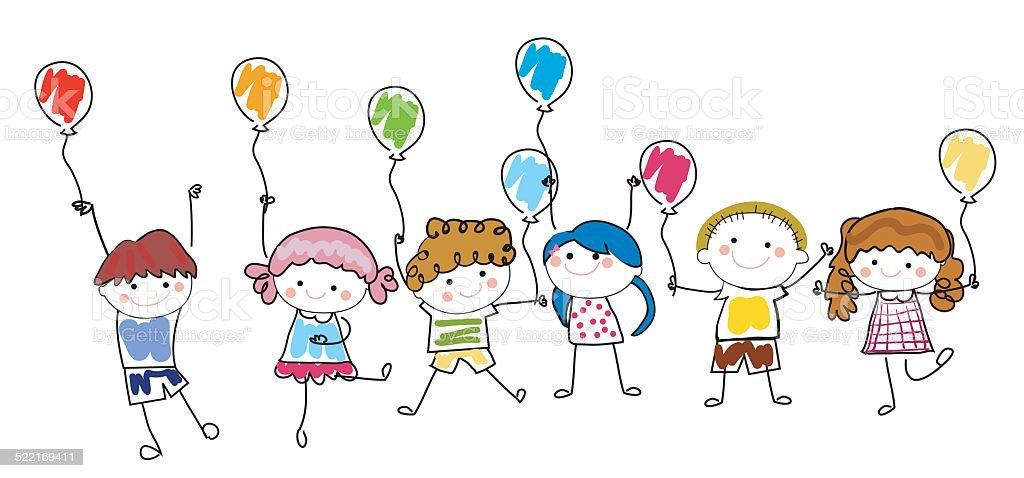 Garçons et filles avec des ballons - Illustration vectorielle