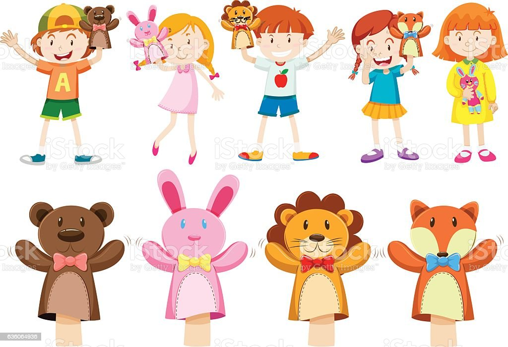 Boys and girls with hand puppets vector art illustration
