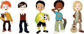 A multi-ethnic group of boys, each featuring a different character, hobby etc.