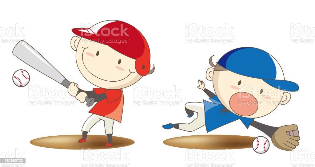Boys Baseball Set - Action Image vector art illustration