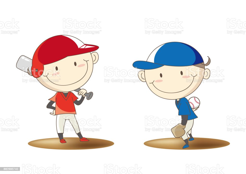 Boys Baseball Set - basic pose vector art illustration
