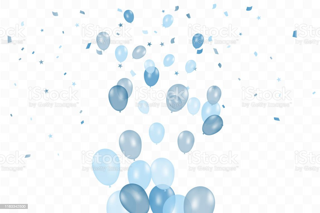 Boy\'s birthday. Happy Birthday Background With blue Balloons And...