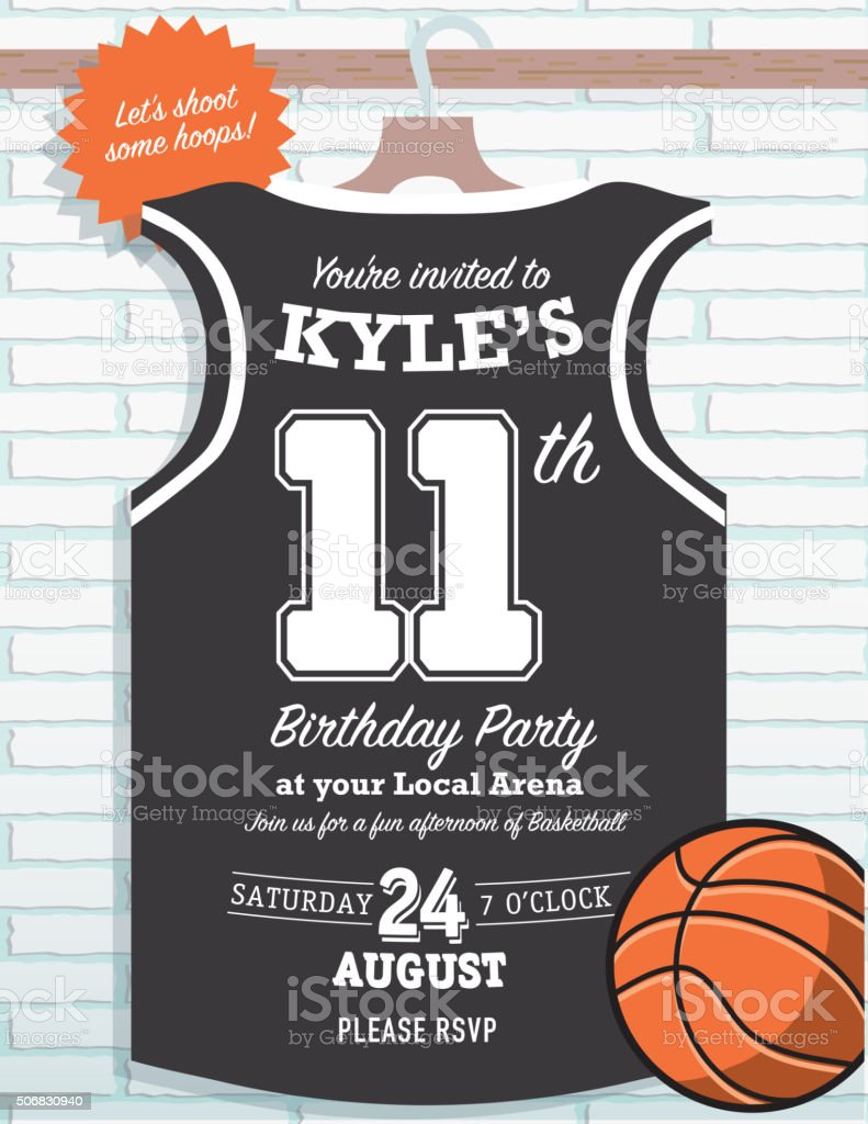 Boys birthday party basketball jersey themed invitation design stock boys birthday party basketball jersey themed invitation design royalty free boys birthday party basketball jersey stopboris Gallery