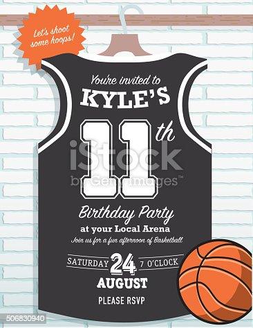 Boys Birthday Party Basketball Jersey Themed Invitation