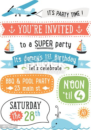 Boy's Birthday party invitation with summer icons.  AI10 file and hi res jpeg included, global colors used. Scroll down to see more of my illustrations linked below.