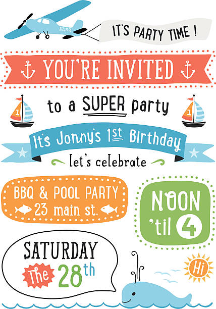 Boy's Birthday Party Invitation Boy's Birthday party invitation with summer icons.  AI10 file and hi res jpeg included, global colors used. Scroll down to see more of my illustrations linked below. birthday borders stock illustrations