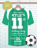 Boys Birthday party soccer jersey themed invitation design