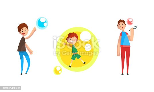 istock Boys Blowing and Playing with Soap Bubbles Cartoon Vector Illustration 1330549303