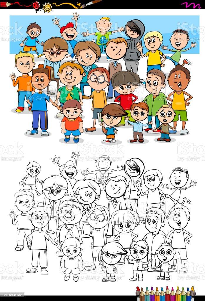 Ilustración de Libro De Colorear De Niños Personajes Grupo y más ...