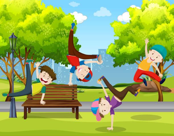 bildbanksillustrationer, clip art samt tecknat material och ikoner med pojkar dans i parken - parkour
