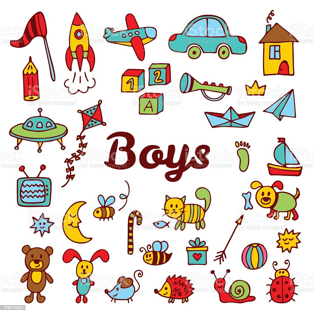 Boy Toys Drawing : Boys design elements cute hand drawn collection of