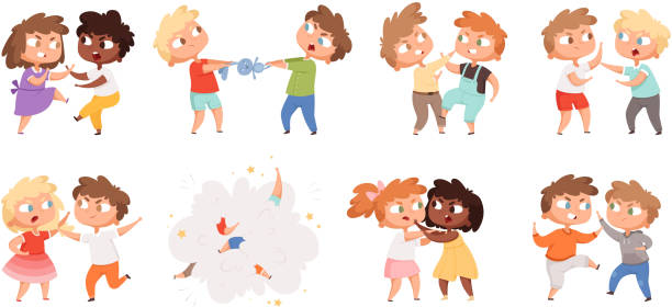Boys fighting. School bully angry kids punishing in playground vector cartoon characters set Boys fighting. School bully angry kids punishing in playground vector cartoon characters set. Illustration angry boy and girl, bullying problem, behavior aggression arguing stock illustrations