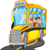 Boys  girls riding  school bus