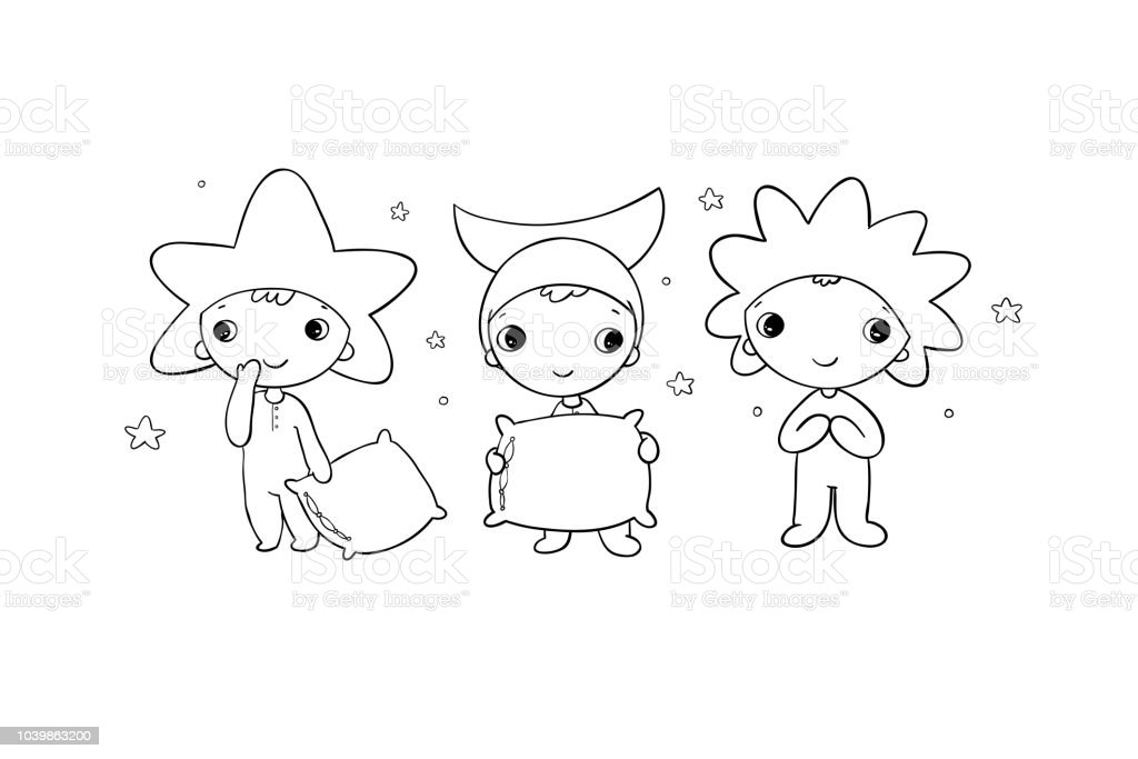 Boys gnome in the costumes of the moon, the sun and the star.
