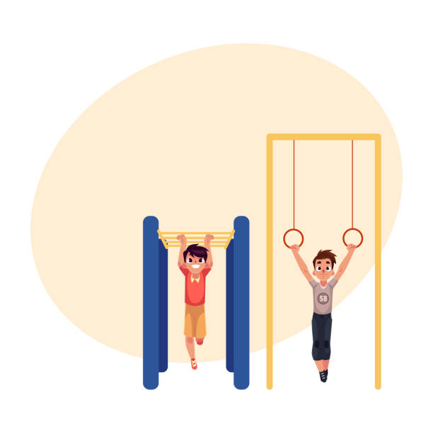boys hanging on gymnastic rings and monkey bars at playground - monkey bars stock illustrations, clip art, cartoons, & icons