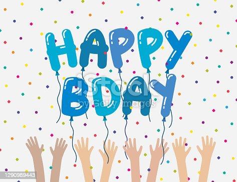 istock Boys Happy Birthday Celebration Card Meme Surprise Party Balloons 1290989443