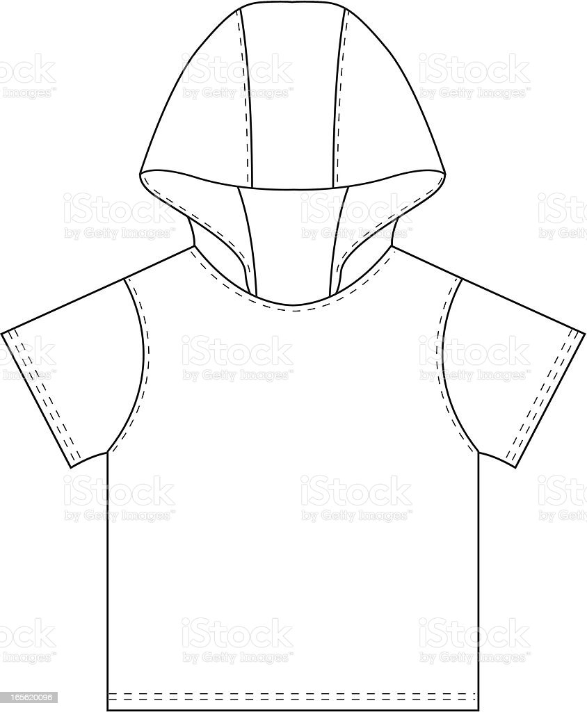 Boys Hooded T-Shirt Template royalty-free stock vector art