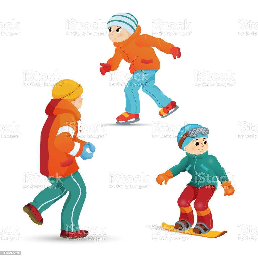 Boys ice skating, snowboarding, playing snowballs vector art illustration