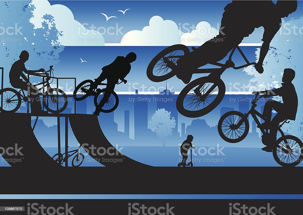 BMX Boys in a city park royalty-free bmx boys in a city park stock vector art & more images of activity
