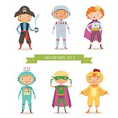 Boys in different costumes for party or holiday