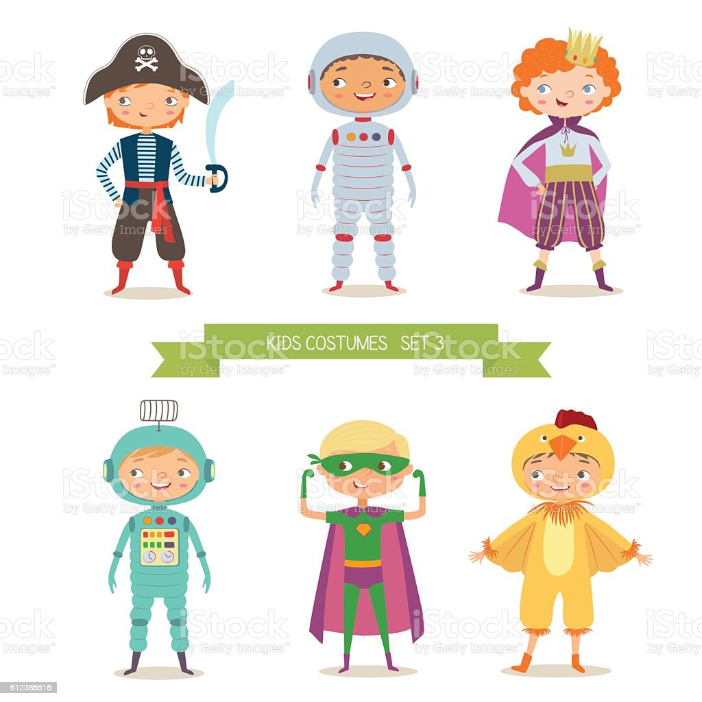 Boys in different costumes for party or holiday vector art illustration