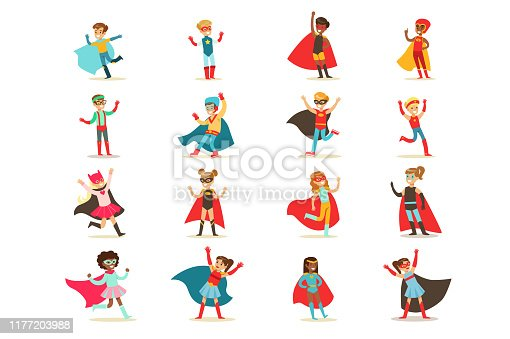 Boys in superhero costume set, cute little super kids vector Illustrations isolated on a white background.