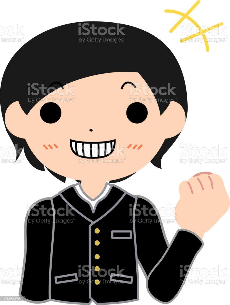 Boy's Japanese student diligent laugh vector art illustration