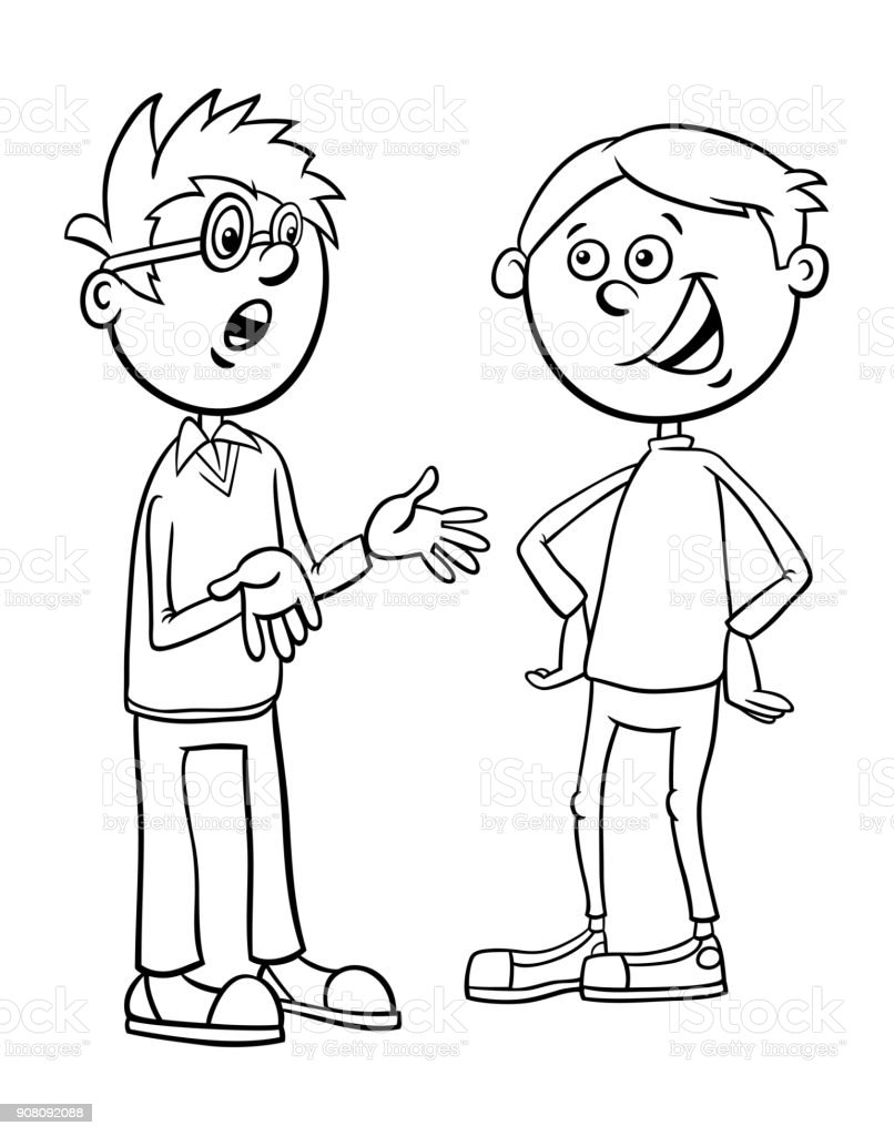 Boys Kid Characters Talking Cartoon Coloring Page Royalty Free