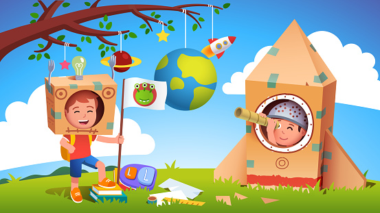 Boys kids playing alien earthling cosmonaut contact. Child astronaut in cardboard rocket discovered extraterrestrial. Creative children cartoon characters in self made costume flat vector illustration