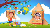 istock Boys kids playing alien earthling cosmonaut contact. Child astronaut in cardboard rocket discovered extraterrestrial. Creative children cartoon characters in self made costume flat vector illustration 1226736426