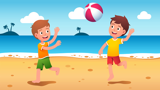 Boys kids playing beach ball at summer seaside. Happy children playing sport game together having fun at sea shore beach. Players cartoon characters. Holiday outdoor activity. Flat vector illustration