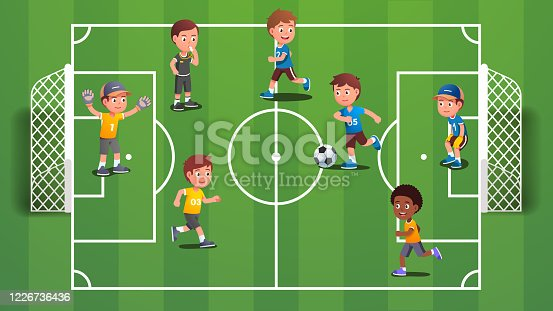 Boys kids playing soccer ball on field. Excited kids playing sport team game together having fun. Children players cartoon characters on football pitch with goals. Flat vector illustration