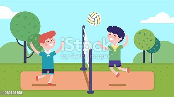 Boys kids playing volleyball on court with net in summer park. Happy children playing sport game together having fun. Players cartoon characters. Sport, health & leisure. Flat vector illustration