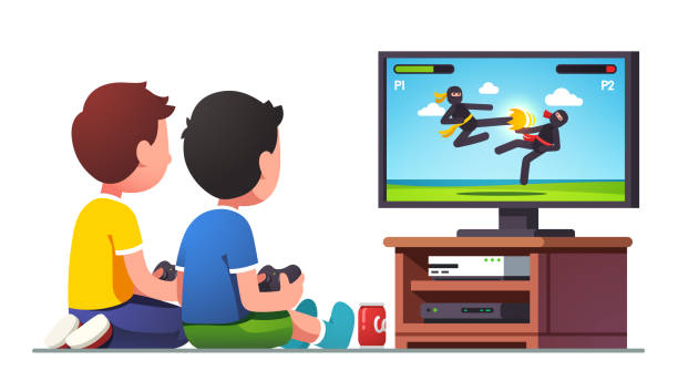 stockillustraties, clipart, cartoons en iconen met jongens kinderen zitten op tv-scherm met controllers - tienerjongens
