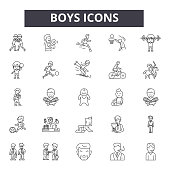 Boys line icons for web and mobile. Editable stroke signs. Boys  outline concept illustrations