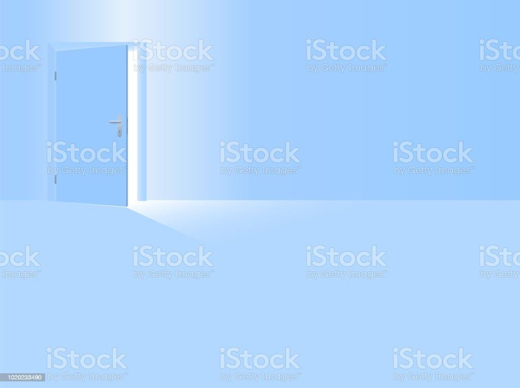 Boys Nursery Baby Blue Room With Half Open Door To Welcome Your Son The Baby Boy The Little Brother Vector Illustration Stock Illustration Download Image Now Istock
