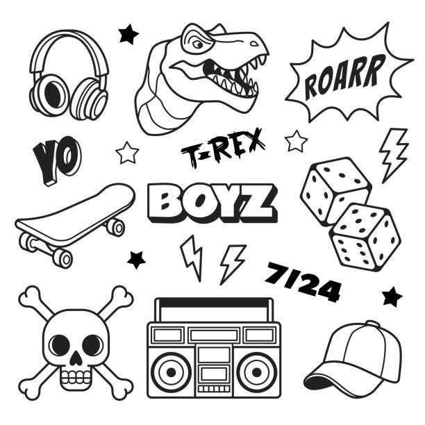 illustrazioni stock, clip art, cartoni animati e icone di tendenza di boys patches collection. - skate