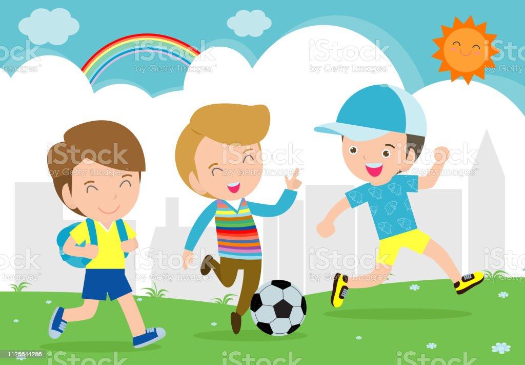 Jungen Spielen Fussball Kinder Spielen Fussball Im Park