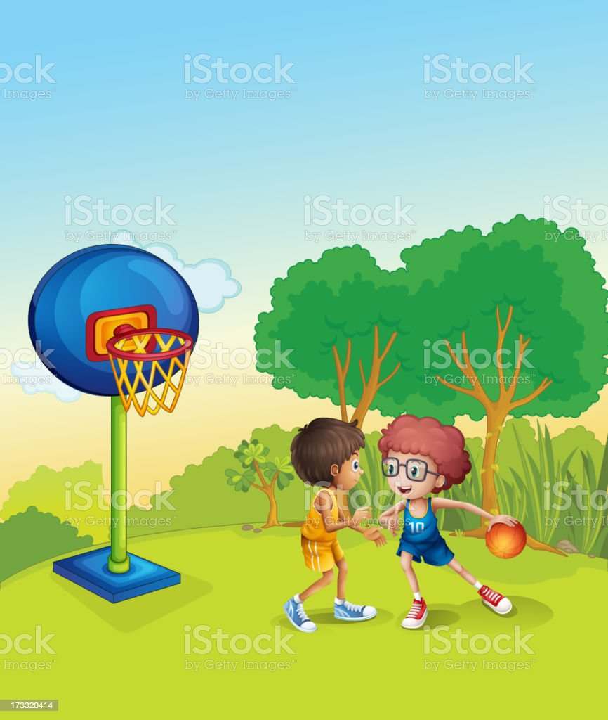 Boys playing basketball at the top of  hill royalty-free stock vector art