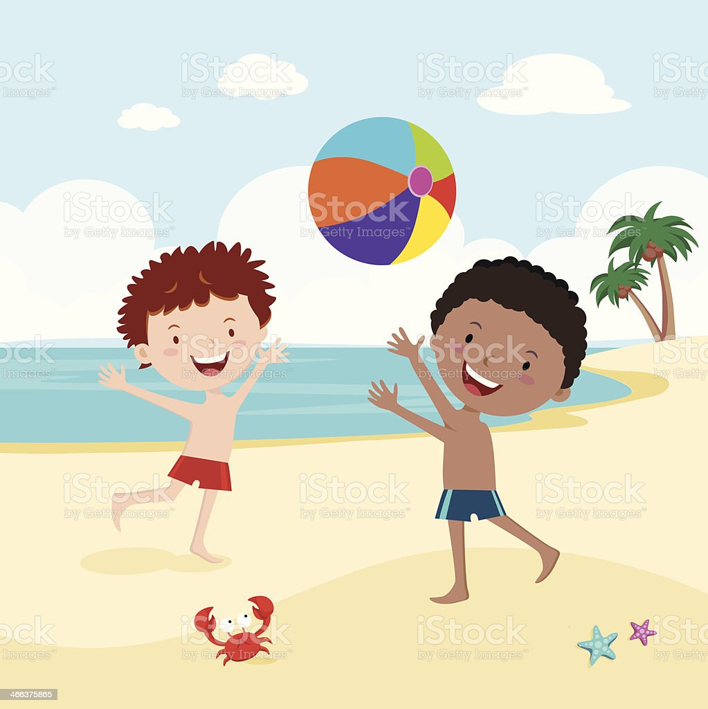 Boys playing beach ball vector art illustration