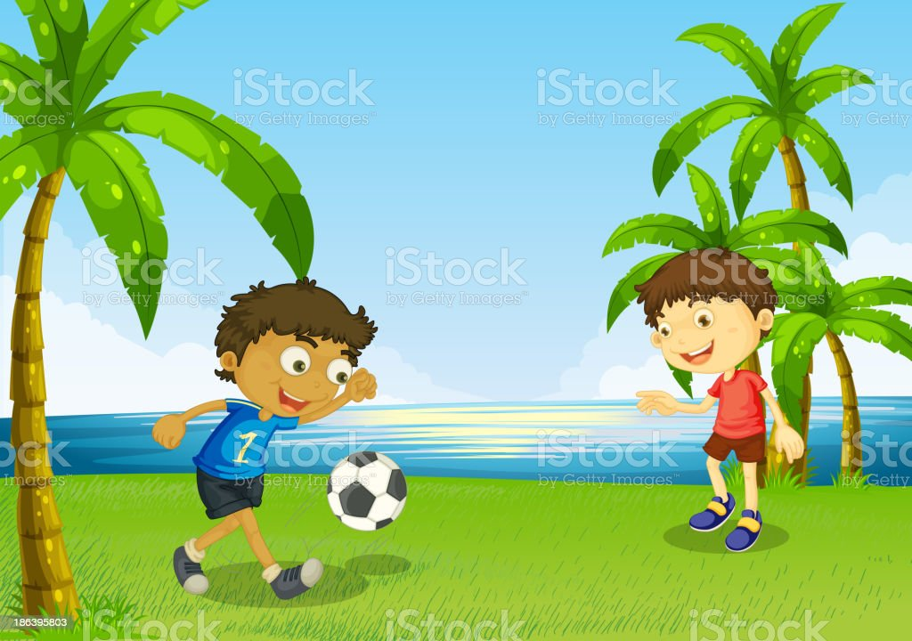 Boys playing football at the riverbank royalty-free stock vector art