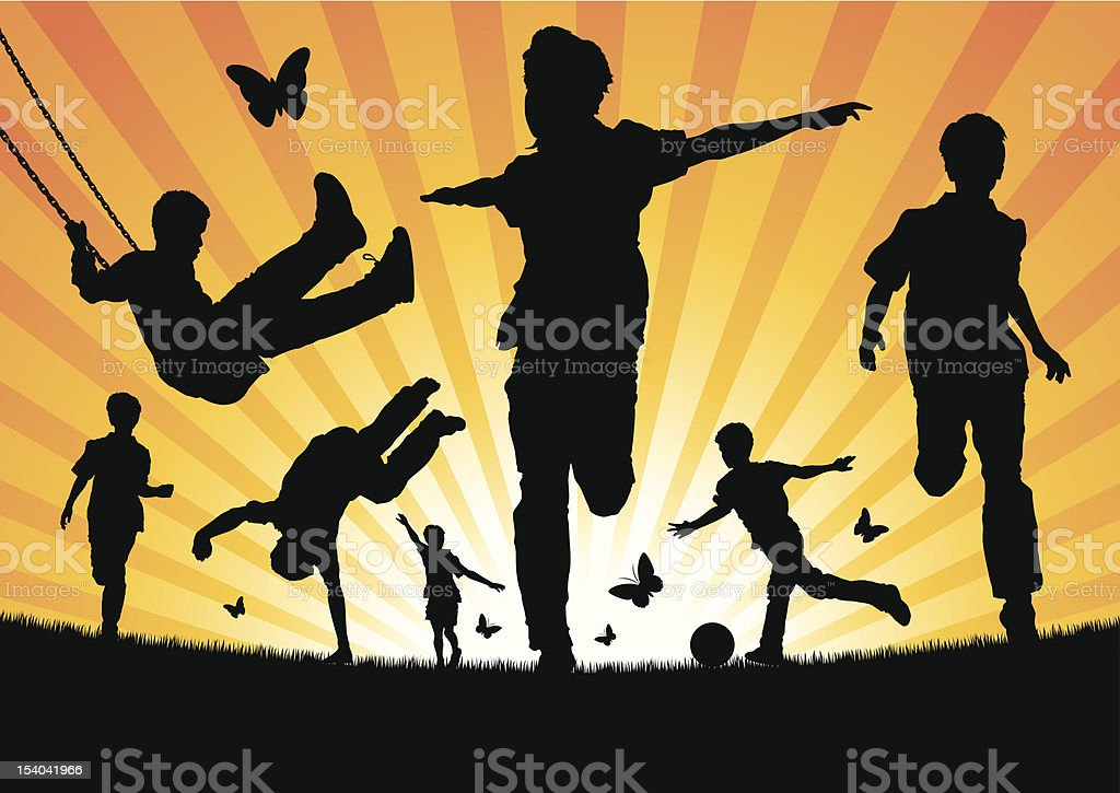 Boys Playing in the Sun vector art illustration
