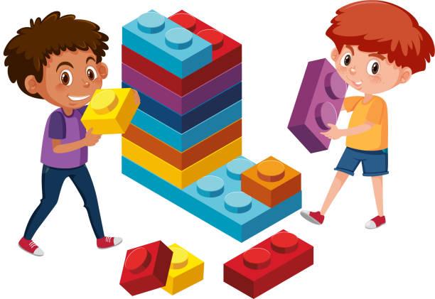 stockillustraties, clipart, cartoons en iconen met jongens spelen lego baksteen - lego