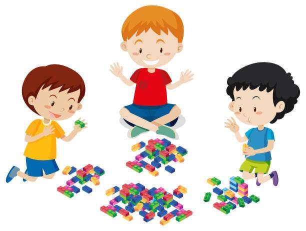 stockillustraties, clipart, cartoons en iconen met jongens lego spelen op witte achtergrond - lego