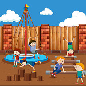Boys playing on playground