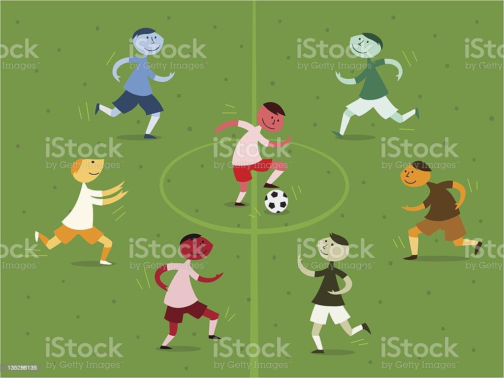 Boys playing soccer royalty-free stock vector art