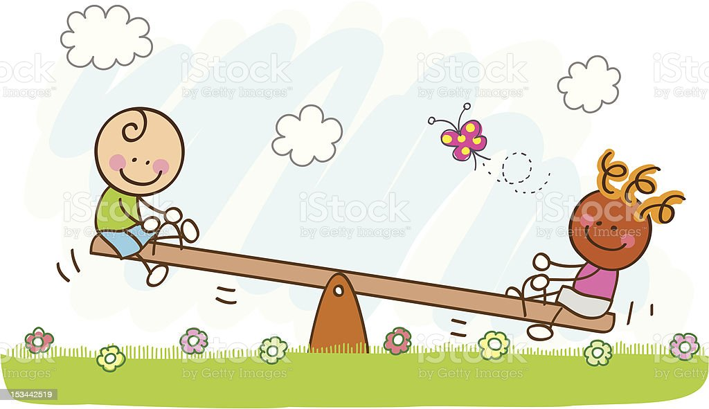 boys playing with seesaw cartoon illustration royalty-free stock vector art