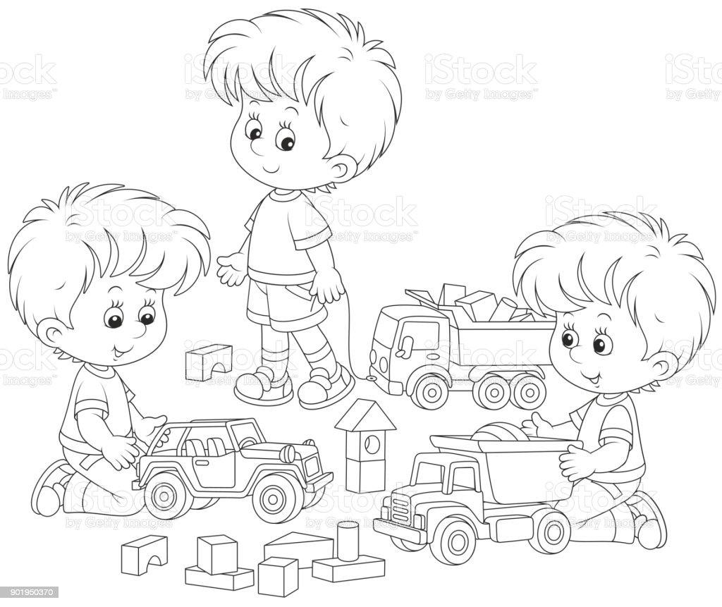Oyuncak Arabalar Ile Oynayan çocuklar Stok Vektör Sanatı Anaokulu